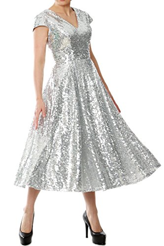 MACloth Women Cap Sleeve V Neck Sequin Tea Length Bridesmaid Dress Evening Gown Negro