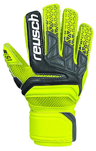 Reusch Soccer Prisma Prime S1 Finger Support Junior Goalkeeper Gloves Yellow/Black, 8