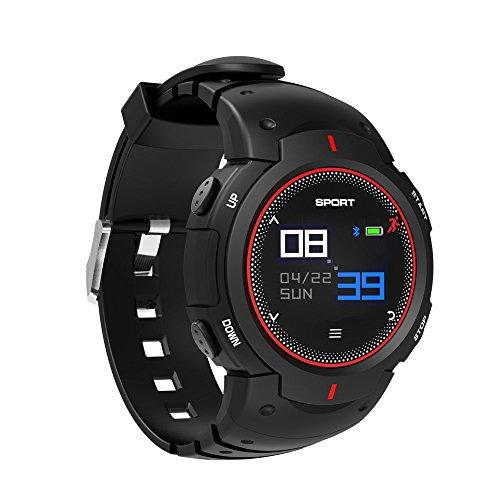 watch Band, Colour Screen Bluetooth Fitness Tracker IP68 Waterproof Pedometer Running Bracelet W/Sleep Monitor Multi-Sport Mode Smart Watch for Android,iOS, Men/Women/Kids(Red) ()