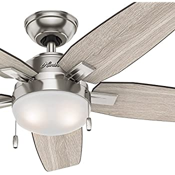 Hunter 52 matte black finish contemporary ceiling fan with light hunter fan 46 in contemporary ceiling fan with led light kit brushed nickel mozeypictures Choice Image