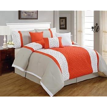 Amazon.com: 7 Pieces Luxury Coral Orange, Grey and Tan ...