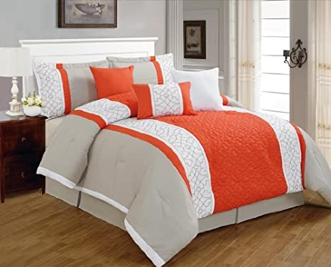 7 Pieces Luxury Coral Orange, Grey and Tan White Quilted Linen Comforter Set / Bed-in-a-bag Queen Size Bedding