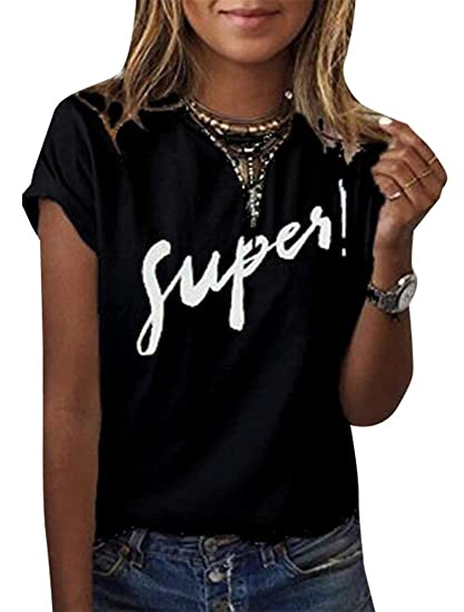 2a145439579bc Miracle Women Winter Cotton Short Sleeve Letter Print T-Shirt Tops Tee at  Amazon Women's Clothing store: