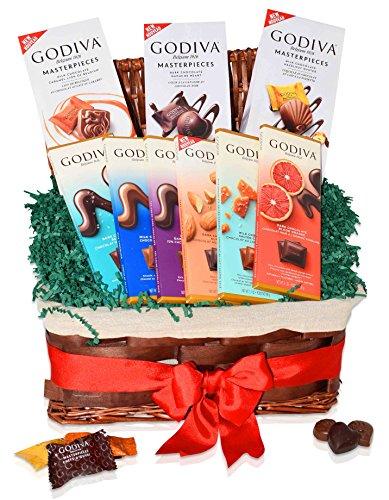 Godiva Christmas Chocolate Variety Gift Basket - Masterpieces Caramel, Hazelnut, Dark - Tablet Milk, Dark Almond, Salt Caramel, Blood Orange and more - Christmas Gift for Family, Friends, Him, Her
