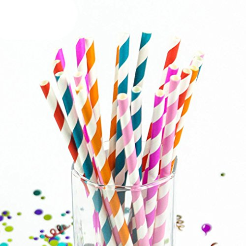 Feccile 200Pcs Drink Paper Straws Birthday Party Picnics Camping Supplies by Feccile Kitchen (Image #3)