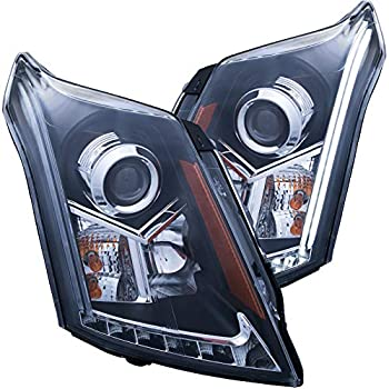 Image of AnzoUSA 111308 Black/Clear/Amber Plank Style Projector Headlight for Cadillac SRX Headlight Assemblies
