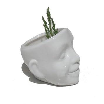 Tasche Keramik Blume Topfe Weiss Schadel Lacheln Gesicht Gedruckt