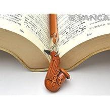 Saxophone Leather Charm Bookmarker VANCA Handmade in Japan