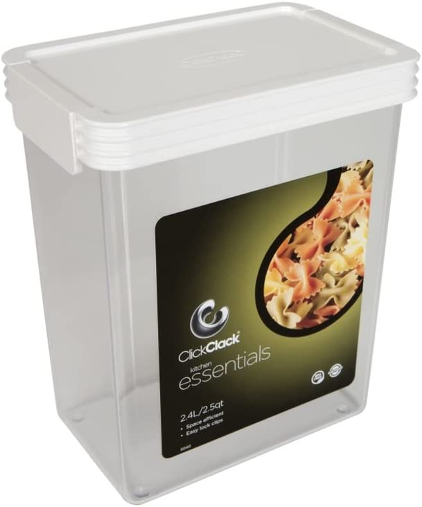 Click Clack Kitchen Essentials 2.5 Quart Airtight Container, White Lid
