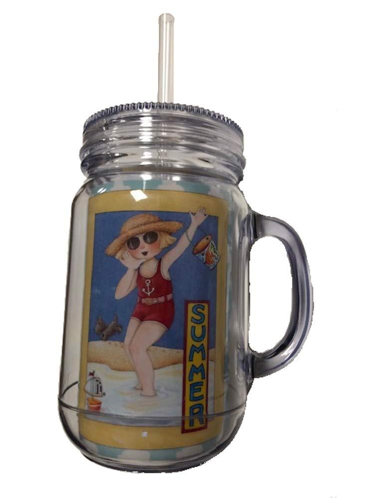 Mary Engelbreit Acrylic Jar Shape Drink Tumbler, Summer, 16 Ounce Capacity