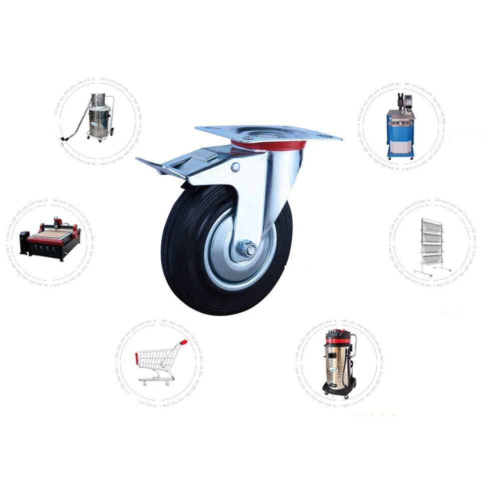 schwarz 4 100mm verzinkt Gummi 2 St/ück mit Bremse silberfarben 2 St/ück aktiv Lenkrollen mit Bremse und 2 Lenkrollen aus Stahl