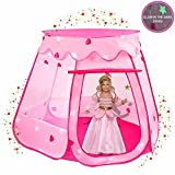 Playz Ball Pit Princess Castle Play Tents for Girls w/ Glow in the Dark Stars - Pop Up Children Play Tent for Indoor & Outdoor Use Beautiful Playland Playhouse Tent w/ Zipper Storage Case