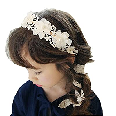 RQJ Girls Pearl Floral Princess Dress Headband Flower Wreath Costumes Handmade Garland Crown Halo with Long Ribbon