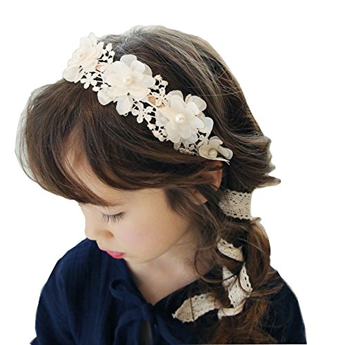 RQJ Girls Pearl Floral Princess Dress Headband Flower Wreath Costumes Handmade Garland Crown Halo with Long Ribbon ()