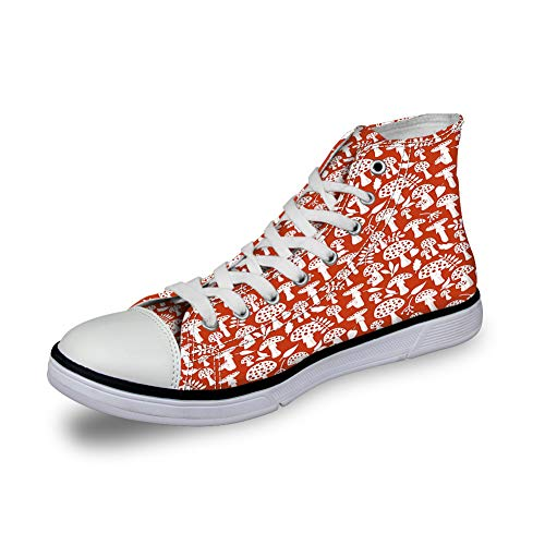 High Top Classic Casual Canvas Sneakers Lace ups Casual Walking Shoes,Cute Amanita Pattern with Leaves Berries Poisonous Plants Cartoon Style - Womens 5