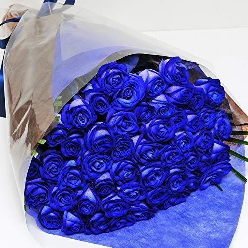 本数をお選びください 青いバラの花束 5本~100本 神秘的なブルーローズ 奇跡の花 エーデルワイス 花工房 (50) B07P4618KG  50