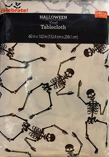 Vinyl Tablecloth 60x102 Halloween Tossed Skeleton Theme -