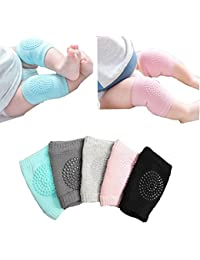 Baby Crawling Anti-Slip Knee pads, Unisex Baby Toddlers Kneepads 5 Pairs (Multiple colors,Large)