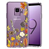 Unov Galaxy S9 Case Clear with Design Soft TPU Shock Absorption Slim Embossed Floral Pattern Protective Back Cover for Galaxy S9 (Leaves Lyrics)