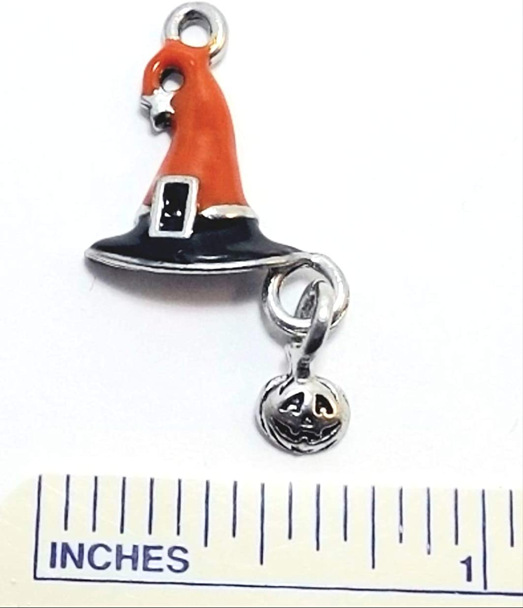 Gold Tone Pewter Witch Charms on Hypoallergenic Ball Post Stud Earrings