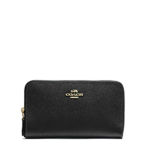Coach Medium Zip Around Wallet In Crossgrain Leather LI Gd/Black # 53981 LIBLK