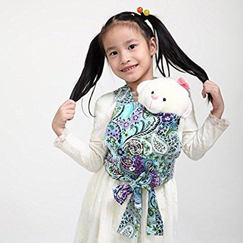 Baby Doll Carrier Mei Tai Sling Toy pour enfants Enfant enfant en bas d'enfant Dos, Mini-porteuse, Hibou, Dot, Fleur, Kaléidoscope ((Paisley Flower) CN