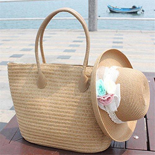 playa verano para beige böhmische Vintage Bolsa Bandolera Bandolera ratán Bolsa viajes playa de Milchweiß paja verano funda vacaciones de playa mano wwgTX6q
