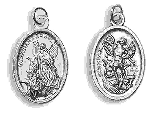 Blessed By Pope Francis Guardian Angel and St Michael Angel De La Guarda Y San Miguel Arcangel Medal Silver Oxidized