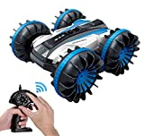 KINGBOT Waterproof RC Car, 2.4Ghz 4WD Stunt Car 6CH Remote Control Amphibious Off Road Electric Race Cars with 2 Sides...