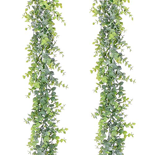 Lvydec 2 Pack Artificial Eucalyptus Garland, Fake Eucalyptus Greenery Garland Wedding Backdrop Arch Wall Decor, 6 Feet/Strand Fake Hanging Plant for Table Festival Party -