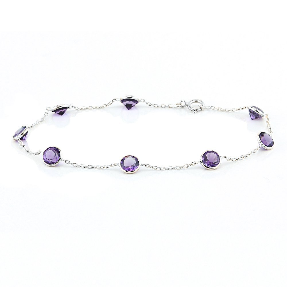 14k White Gold Handmade Station Bracelet with Round 5mm Amethysts 7 - 8 Inches