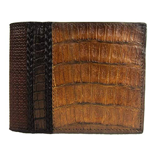 - Cuadra Exotic Almond Blue Caiman Crocodile Cut-Out Leather Bifold Wallet - DU172