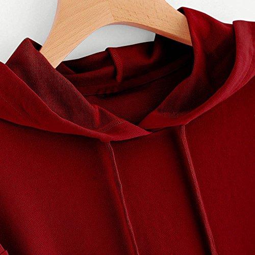 Chemisier shirt Impression C Unie Tops L'automne Longue Sweat Femmes Sweat Couleur Dcontracte Manche Rouge Capuche Rovinci Sauteur Printemps Mode Capuche Shirt ur Hiver T Pull 5wqgWPz