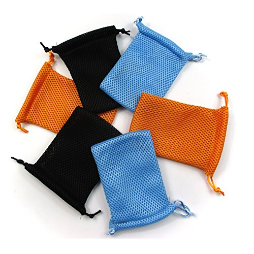 All in ONE 6pcs Nylon Mesh Drawstring Bag Pouches Mini Stuff Cellphone Mp3 8x13cm (3x5 inch) (Black+Orange+Blue)