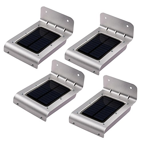Qedertek 16 LED Solar Motion Light, Wall Light, IP65 Waterproof Security Lighting With 2 Smart Modes for Garden, Patio, Deck, Yard, Pathway and Driveway (4-Pack)