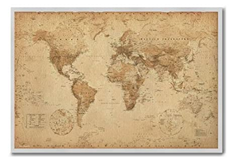 Amazon iposters world map poster ye old parchment cork pin memo iposters world map poster ye old parchment cork pin memo board silver framed 965 x gumiabroncs Images