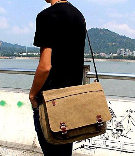 b0f3501642 Kenox Vintage Canvas Laptop Messenger Bag School Bag Business Briefcase 16  Inches Kbag0196-brown