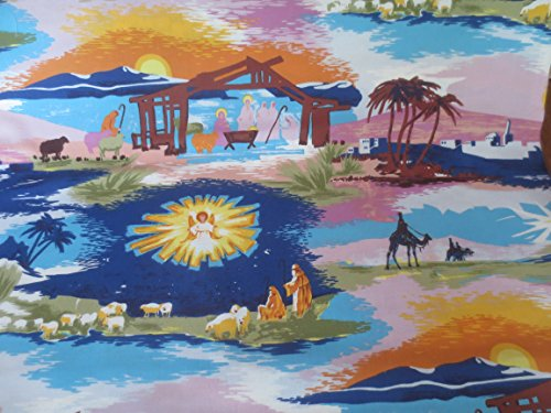 Colorful Christmas Nativity Picture On Cotton Fabric Alexand