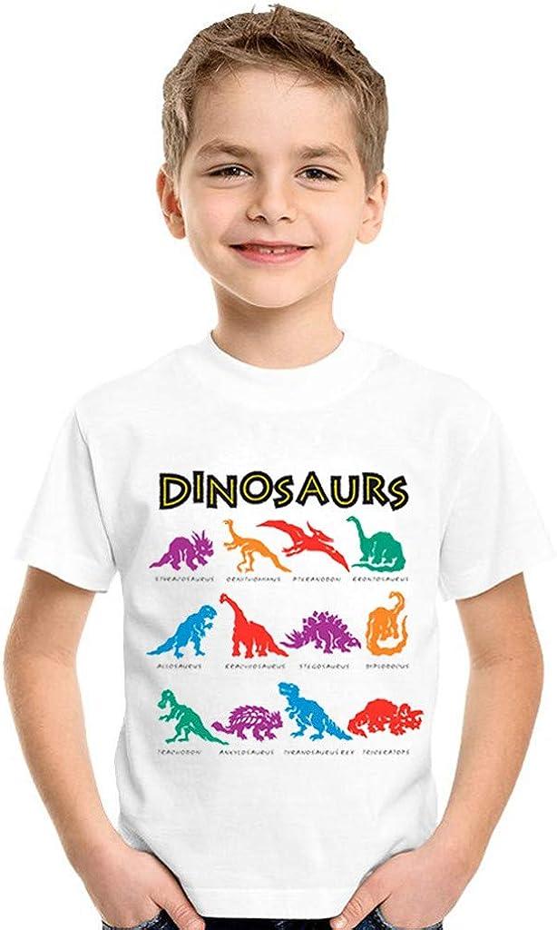 Innerternet-Camiseta de niño, (0-10 años de Edad) Bebe niño Lindo Camiseta de Manga Corta de Estampado de Dinosaurios+Impresión de Letras(Blanco, S-XXL): Amazon.es: Ropa y accesorios