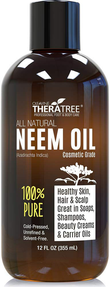 Neem Oil Organic & Wild Crafted Pure Cold Pressed Unrefined Cosmetic Grade 12 Oz For Skincare, Hair Care, And Natural Bug Repellent By Oleavine Thera Tree by Oleavine