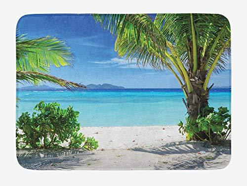 Weeosazg Tropical Bath Mat, Idyllic Tranquil Ocean View Holiday Vacation Resort Beach Plants Seaside, Plush Bathroom Decor Mat with Non Slip Backing, 23.6 W X 15.7 W Inches, Green Aqua Coconut]()