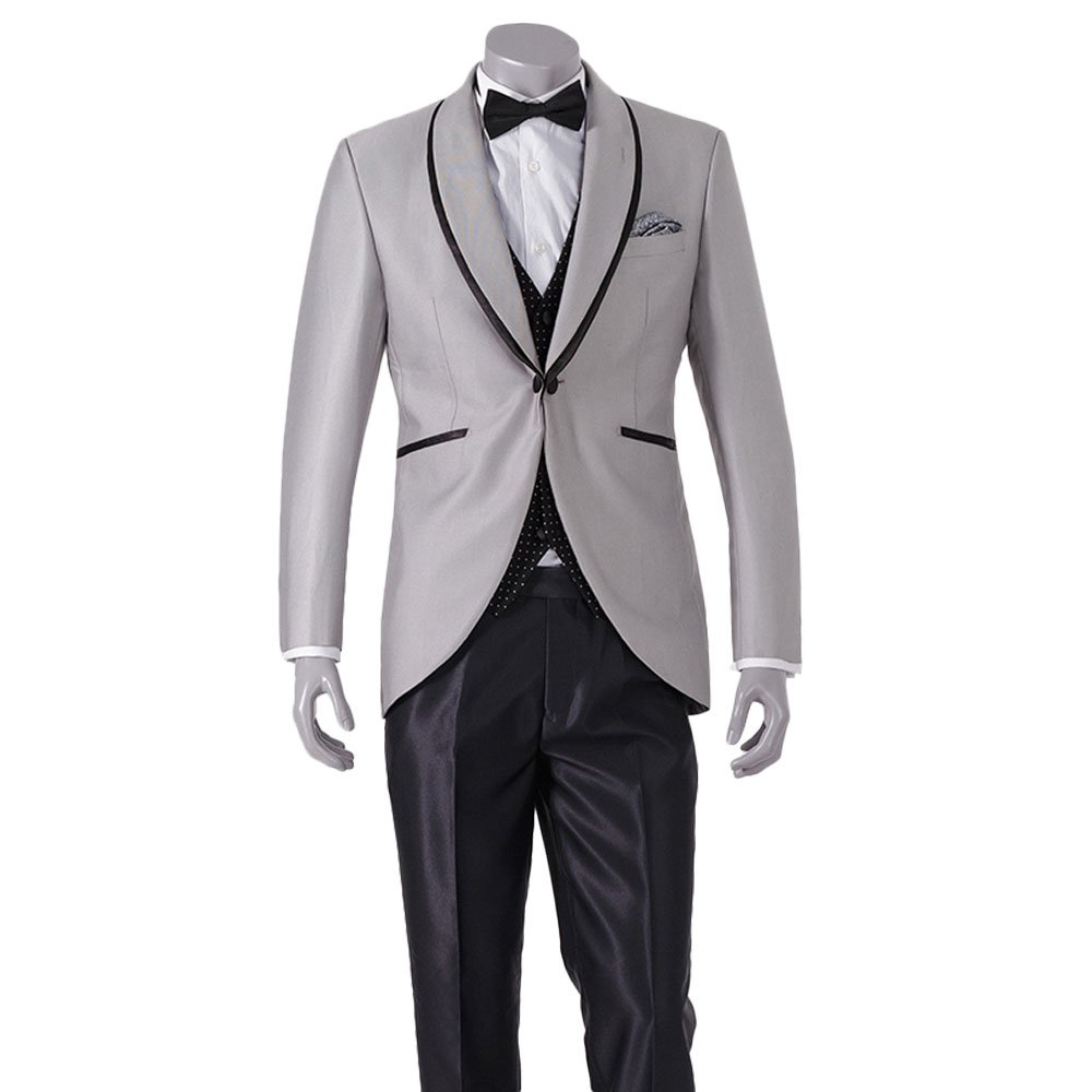 HBDesign Mens 3 Piece 1 Button Slim Fit Silver Suit Jacket+Black Dot Vest+Black Pants