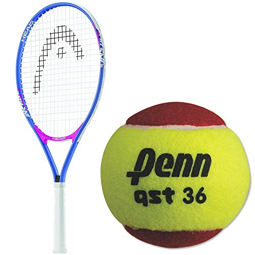 HEAD Instinct 21 Inch Junior Girl's Blue/Pink Tennis Racquet bundled with a 3 Pack of Penn QST 36 Red Felt Tennis Balls (Racket Red Tennis)