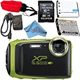 Fujifilm FinePix XP130 Digital Camera (Lime) #600019825 + Camera Floating Strap + Replacement Lithium Ion Battery + MicroFiber Cloth Bundle