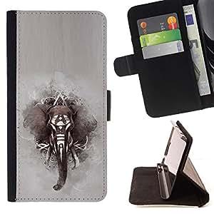 /Skull Market/ - Elephant African Indian Painting Grey For Samsung Galaxy S3 Mini I8190Samsung Galaxy S3 Mini I8190 - Caja de la carpeta del tir??n del cuero de la PU [con ranuras para tarjetas y cierre de solapa magn? -
