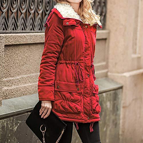 Slim Femme Manche Hiver pais Rouge Unie Veste Manteau Couleur Ymysfit Longue Coton Capuche Chaud HBaPadwq