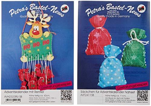 Petra's Craft News Advent Calendar Reindeer Felt Advent Calendar Numbers with Wooden Parts Kit, 22x 32x 11cm, Wood Colour