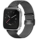 AK Compatible with for Fitbit Versa/Versa Lite/Versa SE/Versa2 Replacement Bands, Stainless Steel Mesh Sport Metal Wristband Loop Accessories for Women Men Compatible Fitbit Versa Smartwatch