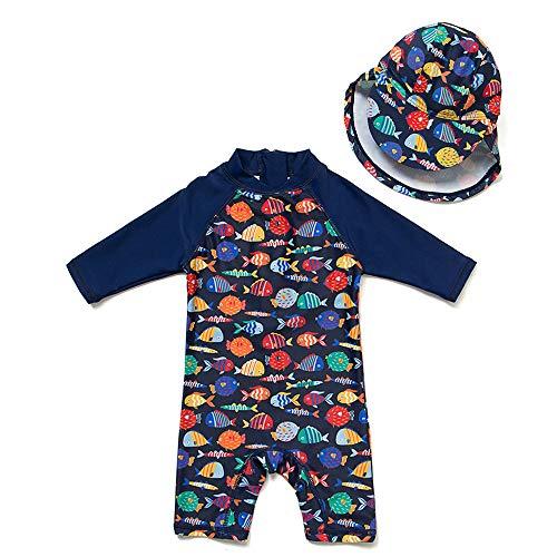 upandfast Baby 1/2 Sleeve Bathing Suit Infant One-Piece Rashguard (Colorful Fish,12-18 Months)