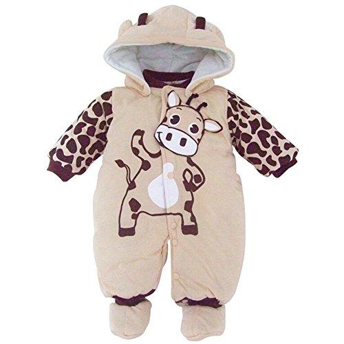 Baby-Kostum Mädchen Overall Kleidung Overall mit Kapuze Beige 0-3 Monats